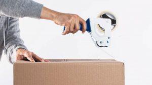 preparing a box for shipping